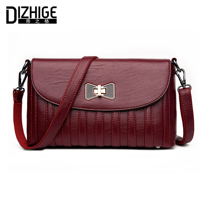 DIZHIGE Brand Fashion Bow Crossbody Bags Women Leather Handbags Lock Shoulder Bags Ladies High Quality Small Women Bag New 2017 fashion women lock leather small striped shoulder bags designer high quality chains bag ladies crossbody sac a main handbags
