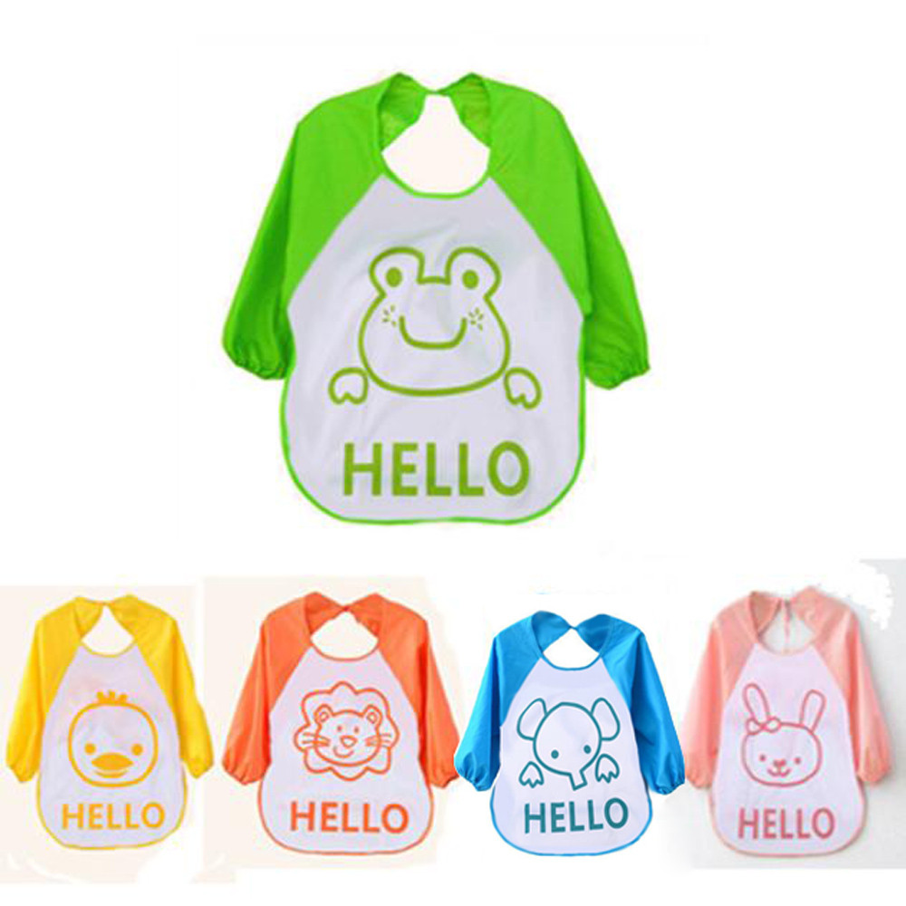 1PCS Cute Plastic Soft Baby Waterproof Bibs Cartoon Translucent for Kids Baby Kids Child Long Sleeve Feeding Burp Cloths ...