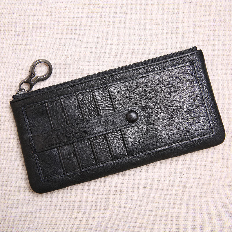 Ultra Erste Flut dünne Schwarzes Jugend Schicht Leder Karte Einfache Brieftasche Bjyl Lange Handtasche Kleine Zipper Persönlichkeit Paket brown Männer AzgIxTBqw