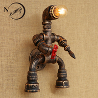 Robot style Loft Industrial iron Water pipe retro wall lamp Vintage E27 LED sconce wall lights for living room bedroom bathroom
