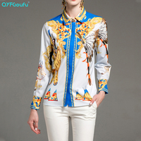 QYFCIOUFU Designer Runway Women Shirt Long Sleeve Elegant Blouse High Quality Black And Blue Vintage Print