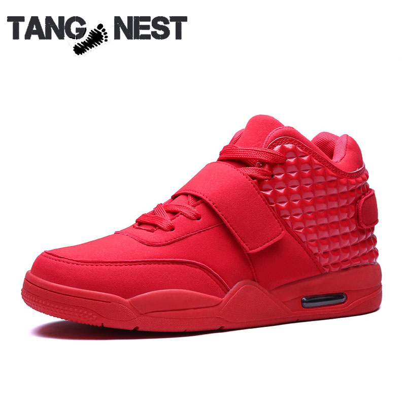 2016 Fashion Men Casual Shoes Red Suede Leather High Top Breathable Height Increasing Boots,XMR1248