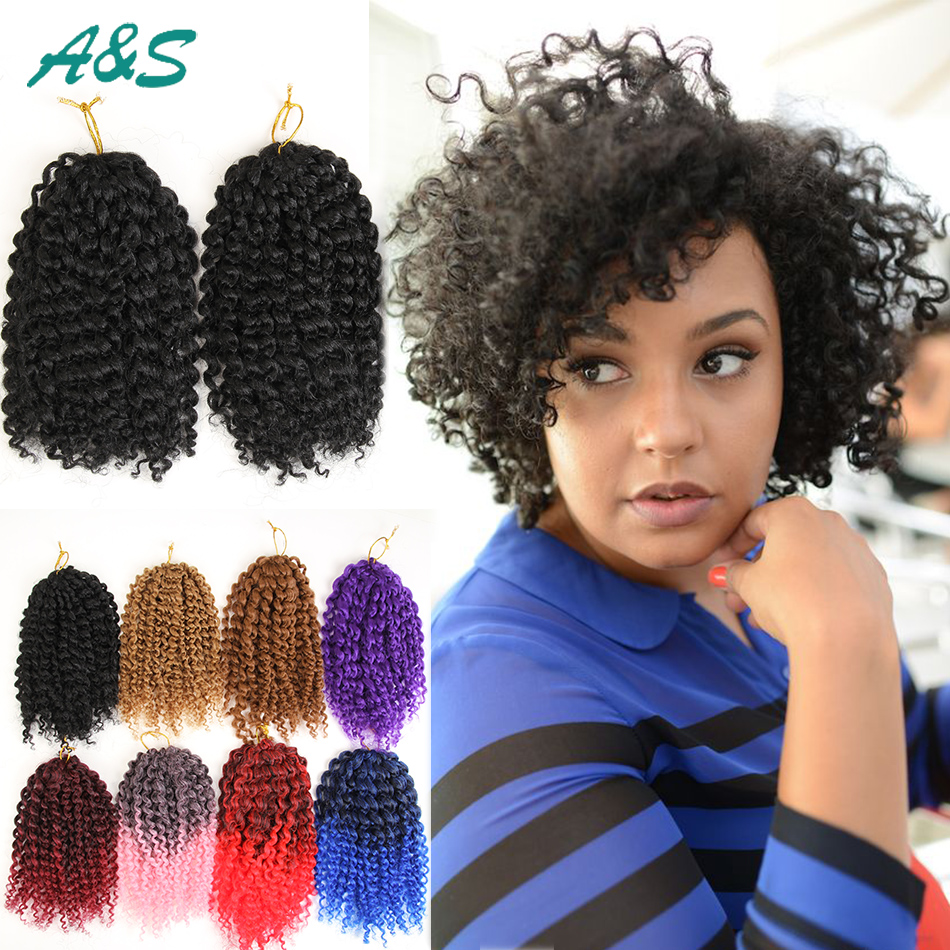 Synthetic Short Tight Curly Crochet Hair Extensions Ombre