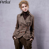 Artka Women S Knight Style Slim Short Coat Turn Down Collar Plaid Double Breasted Cinched Waist