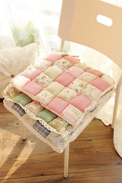Cute crochet hollow bubble pad chair cushions dining chair cushion pastoral office chair mat - Cojines para comedor ...