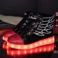 Cesta led luz niños los entrenadores zapatillas luminoso zapatillas niños niñas niño shoes con luz led angel wing shoes
