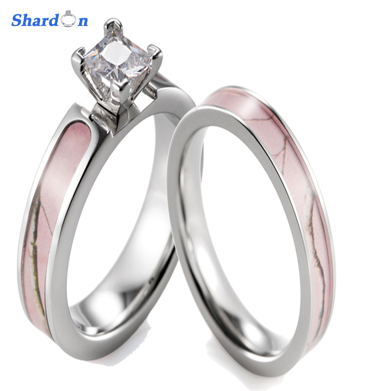 SHARDON Pink Camo Ring Set Women Titanium 4 Prong Setting CZ Engagement Ring with Camo Wedding Band for Women-2pcs
