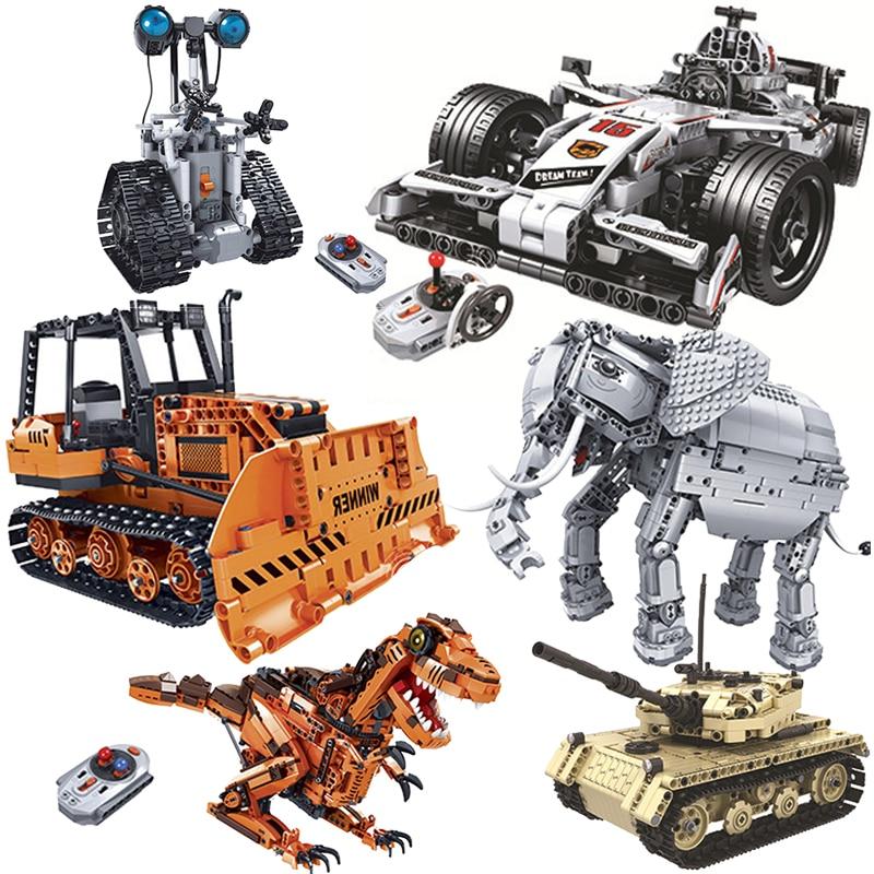Remote Control RC Tank F1 Racing Car Dinosaur Robots Bulldozer Electric Bricks Model Building Blocks Kids
