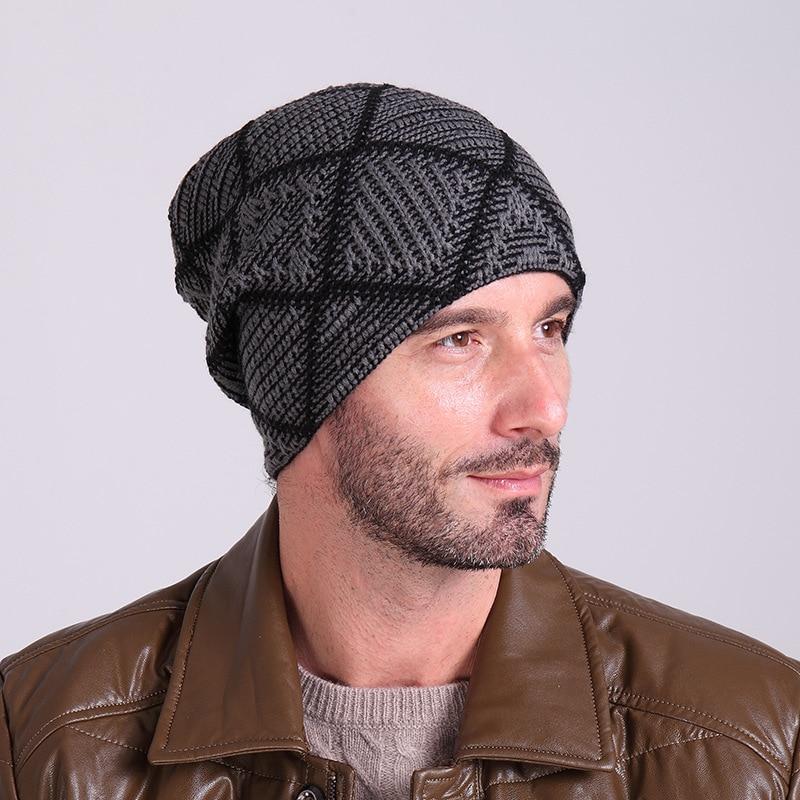 New Arrive Winter Knitting Hats for Men Cashmere Wool Warm Hat Mens Casual  Cross Skullies Beanies Masculino Gorras Man Ski Caps 3c80326925b