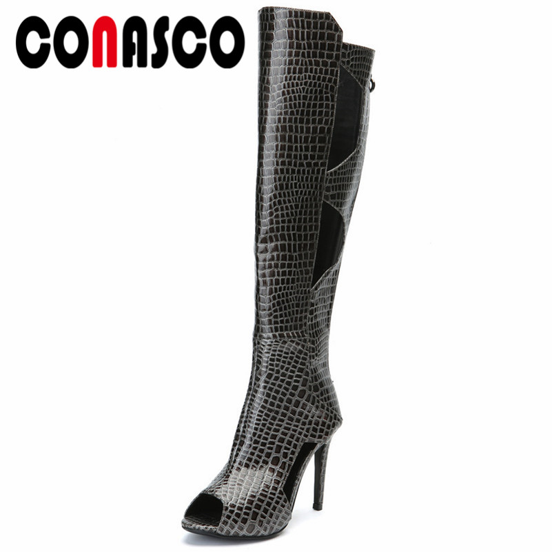 CONASCO Spring Summer Fashion Pu Leather Animal Prints Knee High Boots Back Zippers Women Pumps Fashion Punk Office Shoes WomanCONASCO Spring Summer Fashion Pu Leather Animal Prints Knee High Boots Back Zippers Women Pumps Fashion Punk Office Shoes Woman