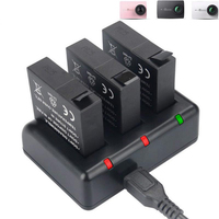 New AZ16 1 Replacement Battery 3 Pack And 3 Channel USB Charger For Xiaomi YI