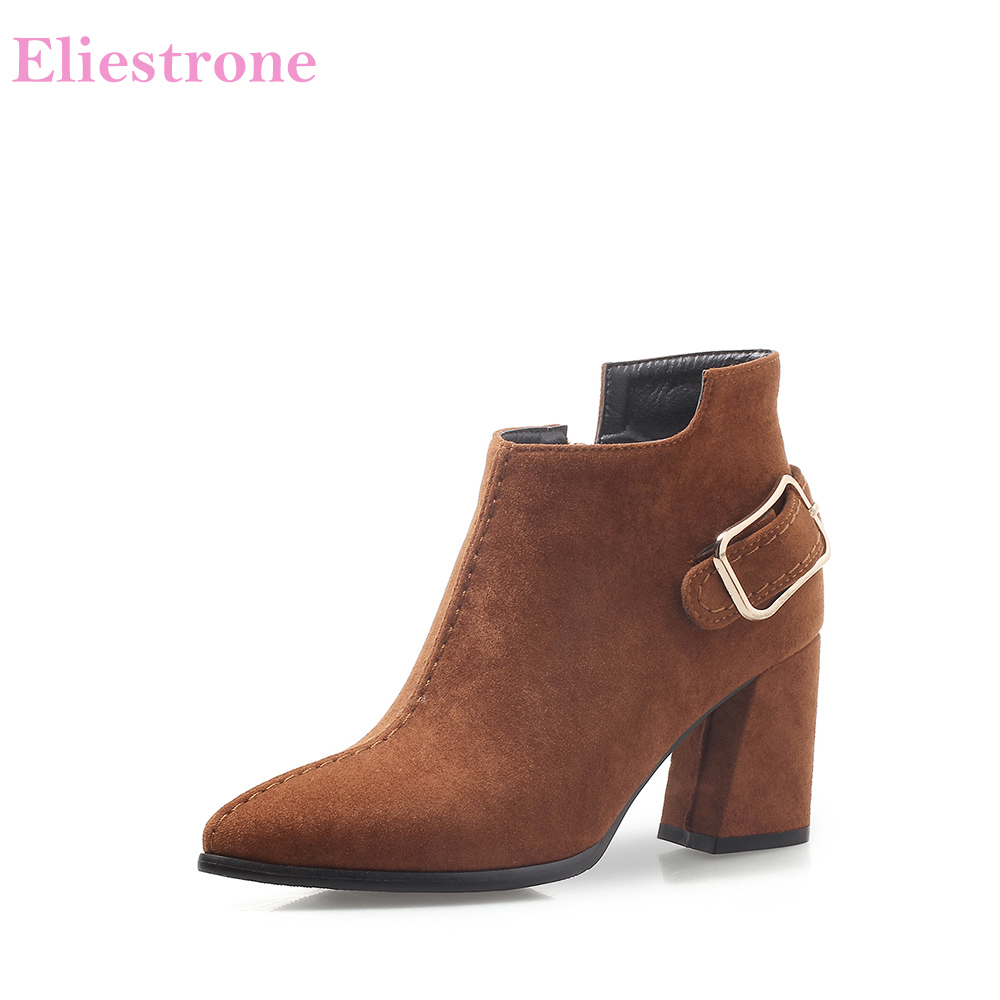 Brand New Quality Mature Brown Beige Women Ankle Formal Boots Sexy Lady Shoes Chunky Heels AB285 Plus Big Size 32 43 45 47