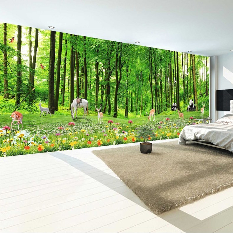 Custom 3D Photo Wallpaper Green Forest Cartoon Animals 3D Living Room TV Backdrop Wall Mural Panda Deer Flower Natural Scenery