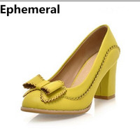 Ladies Autumn Thick Heel Pumps 8cm Sweet High Heel Shoes For Women Party Wedding Dress Stiletto