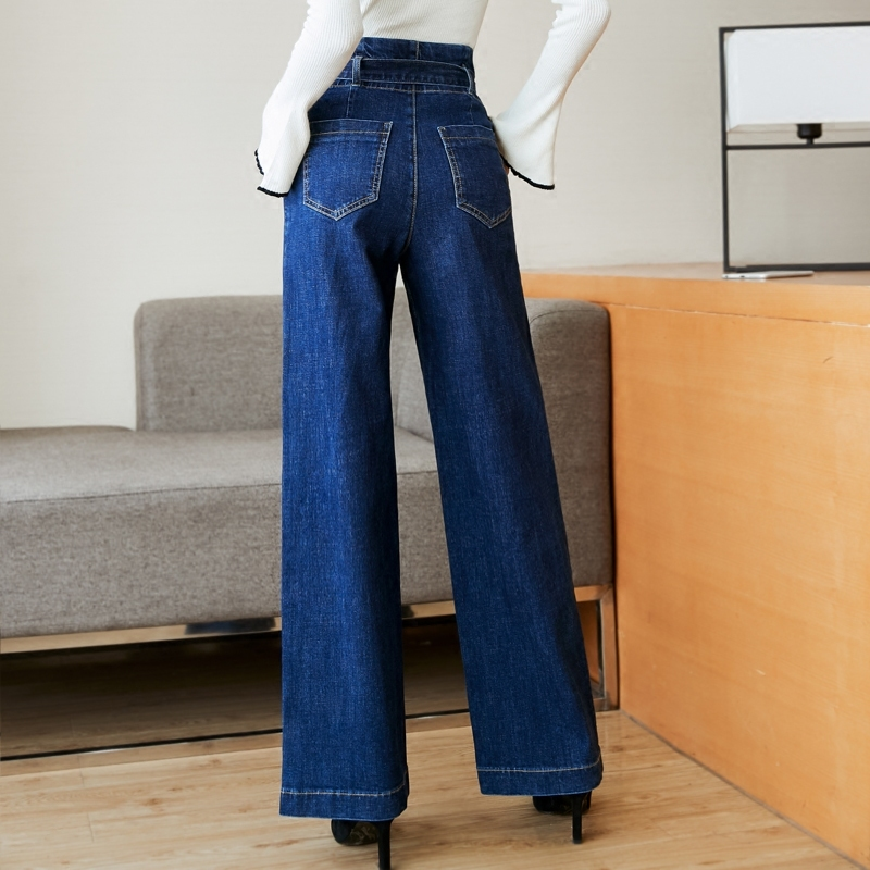 Alta Ancha Coreano Jeans De Otoño Y Invierno Cintura Pierna Blue Wqjgr Cuffless Mujer Pantalones Directamente vtHWw