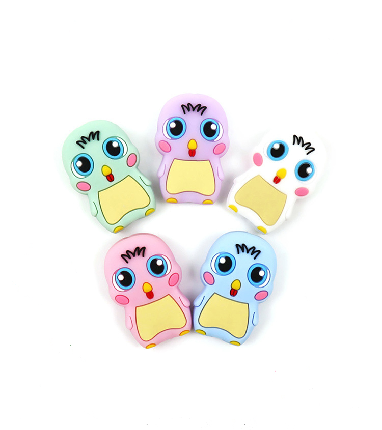 100pcs/lot Silicone Chick Chew Beads Baby Diy Pacifier Chain Necklace Baby Teether Jwelry Teether Infant Carton Nursing Gift Toy At Any Cost Mother & Kids Dental Care