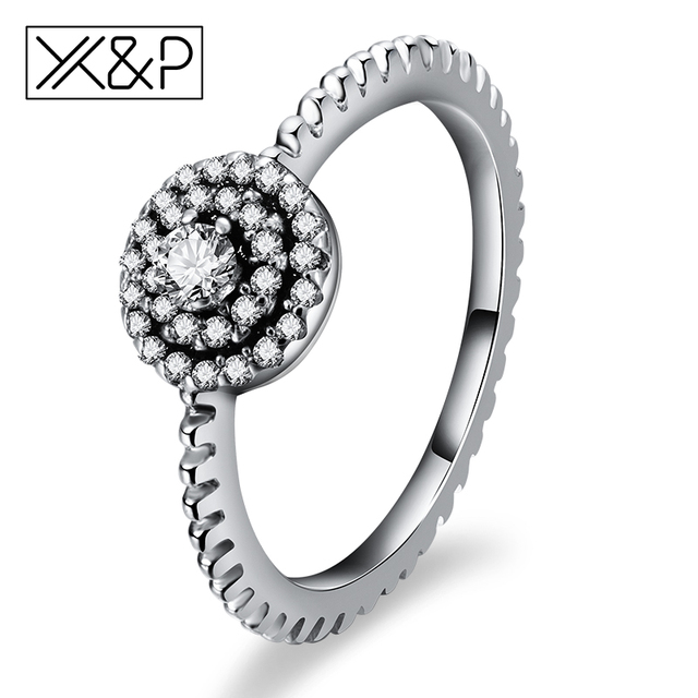 X&P Fashion Charm 925 Silver Round Shape Finger Rings for Women Anniversary Radi