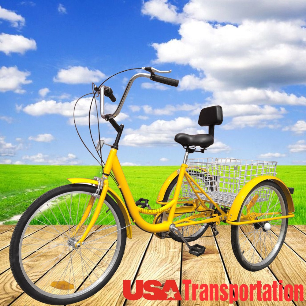 """Promotion  Russia Shippment 3-Wheel Adult 24"""" Tricycle Bike Bicycle Trike Cruise 6-Speed W/ Basket"""