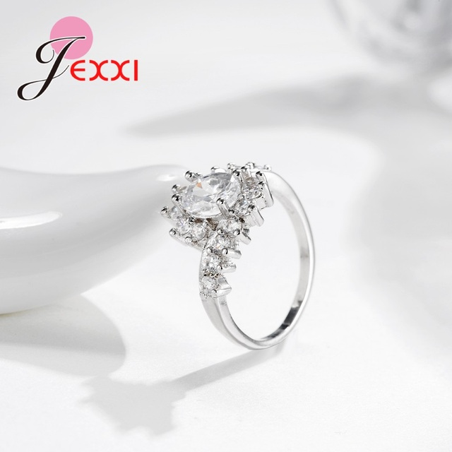 Fashion Ripple 925 Sterling Silver Europe  America New Drop Shape Crystal Zircon Ring Jewelry Small Crystal 2