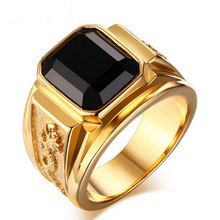 Fahion Gold Color Steel Finger Rings Man Vintage Style High Quality Cool Mens Black Rhinestone Wedding Brand Ring With 5 Size