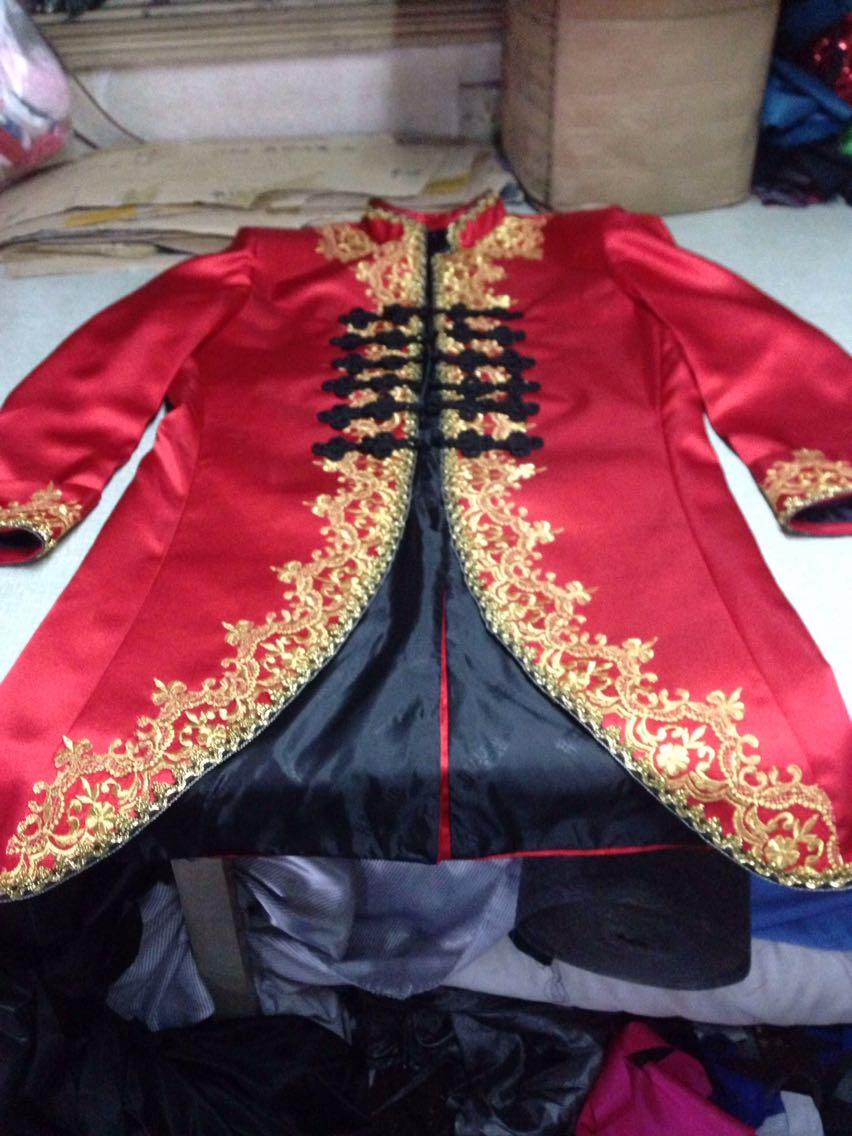 luxury font b mens b font red with golden embroidery flower long font b jacket b