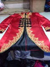 luxury mens red with golden embroidery flower long jacket venice carnival cosplay mens costume Medieval Renaissance