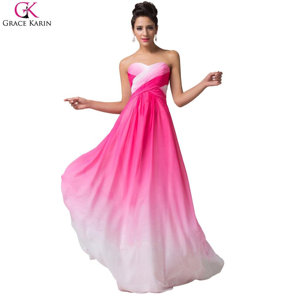 Ombre vestidos de noche abendkleider 2017 colorido grace karin lace ...