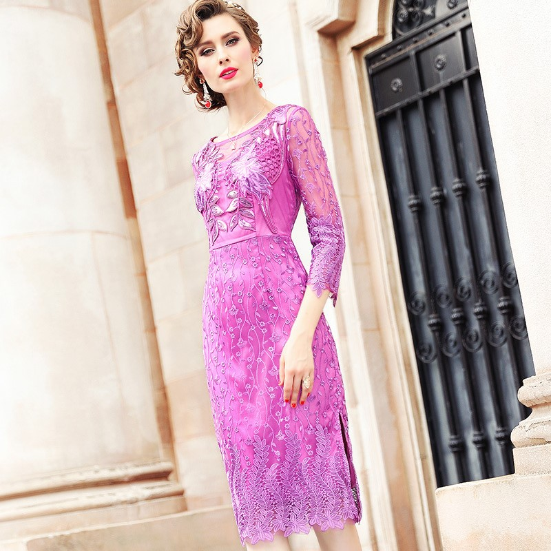 office Lady Embroidery dress 2018 new Spring Autumn Women Clothing sexy Party Dress winter Plus Size Casual hollow out dresses-in Dresses from Women's Clothing    1