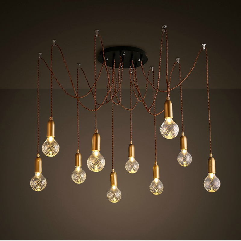 Nordic Vintage Industrial Pendant Lamp with 10 Lights Fixtures American Retro Lamparas Colgantes With Crystal Glass Lampshade retro loft industrial vintage led pendant lights fxitures with glass lampshade dinning room lamp lamparas colgantes