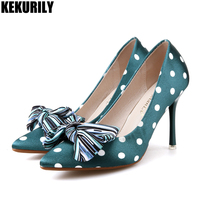luxury Polka dot Pump Green High Heel Shoes Woman Blue Bow Pointed Toe Sandals Sweet bow Heels Slides Slip on Sandalias mujer