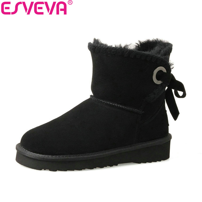 ESVEVA 2017 Women Boots Sweet Style Short Plush Ankle Boots Round Toe Low Heel Chunky Fashion Out Door Snow Boots Size 34-39 esveva 2016 sequined platform women boots autumn fashion boots wedges high heel leisure round toe ladies ankle boot size 34 39