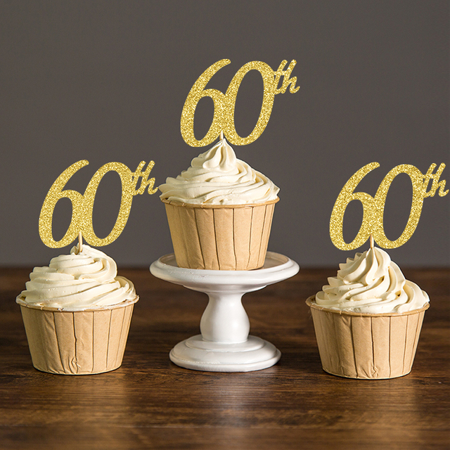Gold Silver Black Glitter Sixty Birthday Cupcake Toppers60th Party Decoration Favors