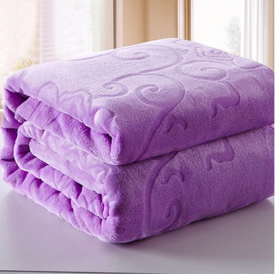 Top Quality Purple Thick Warm Embossed Blanket Solid Coral