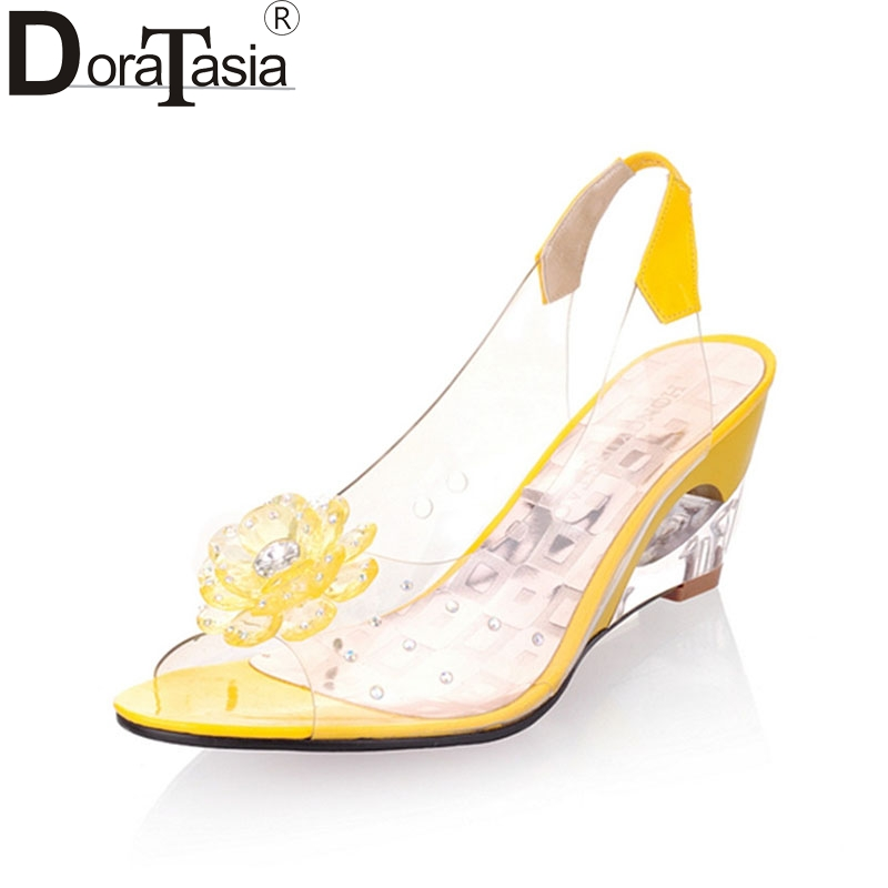 DoraTasia 2016 New Arrival Bohemia Flower Summer Peep Toe Jelly Shoes Crystal Wedges High Heel Women Sandals / Big Size 34-43 ulrica 2017 summer new arrival bohemia sweet beaded sandals clip toe sandals beach shoes footwear shoes for women zapatos mujer