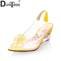 2015 New Arrival Plus Size 34 43 Peep Toe Jelly Shoes Crystal Wedges Heels Transparent Women