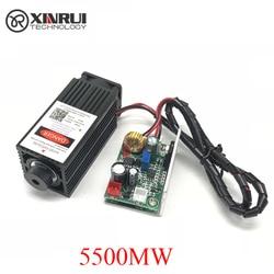 5.5 W High Power 445NM Scherpstellen Blauwe Laser Module Laser Graveren En Snijden Ttl Module 5500 Mw Laser Buis + bril