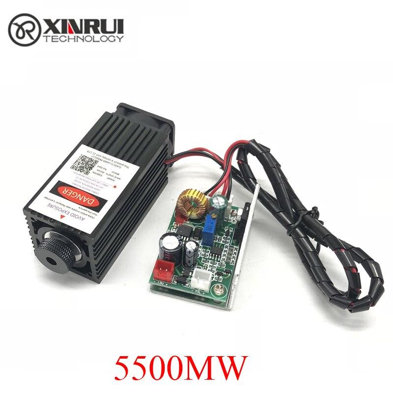 5.5 w de alta potência 445NM com foco de laser azul módulo de laser TTL módulo 5500 mw tubo do laser da gravura e de corte + óculos de proteção