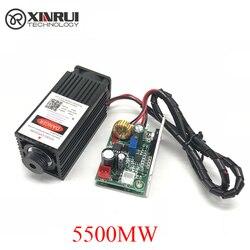 5,5 w de alta potencia 445NM de enfoque módulo láser azul grabado y corte por láser módulo TTL 5500mw tubo láser + gafas