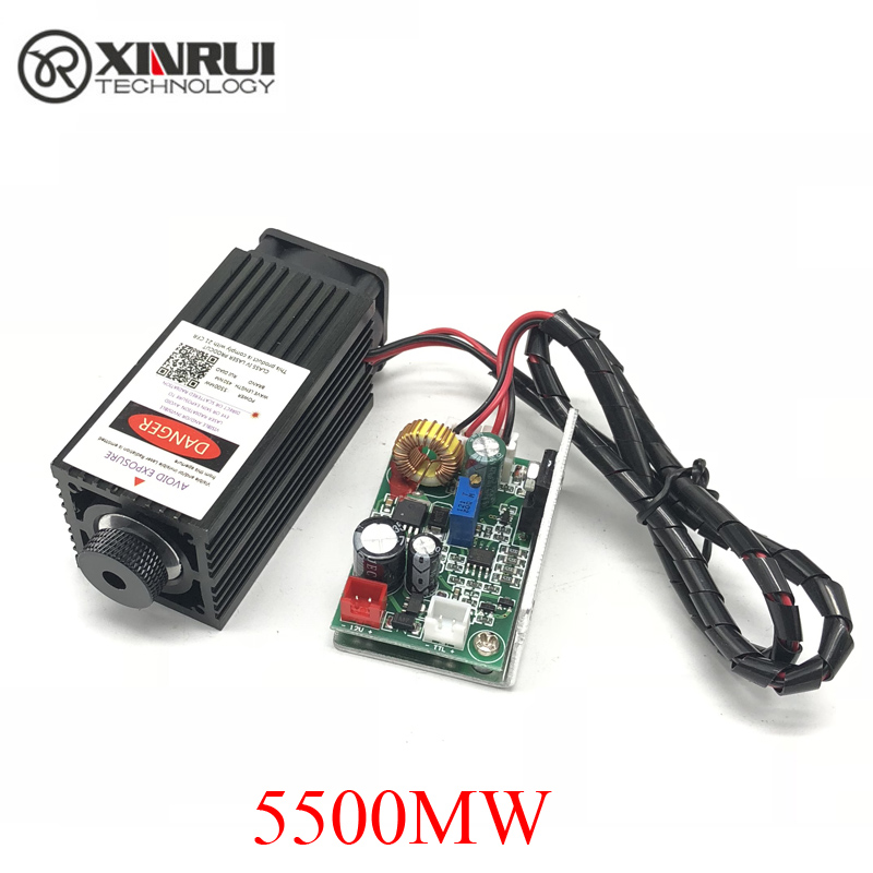 5.5w high power 445NM focusing blue laser module laser engraving and cutting TTL module 5500mw laser tube+goggles-in Woodworking Machinery Parts from Tools