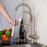 KEMAIDI Classic Kitchen Faucet Pull Out Spray Tap And Swivel Brushed Nickel Finished LED With 3