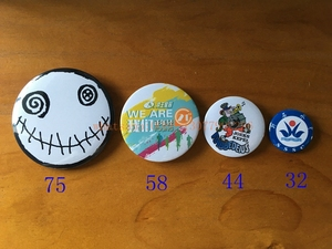 Image 2 - 20pcs/lot custom button badge 44*44mm with your design tinplate badges round badge, tin badge with pin