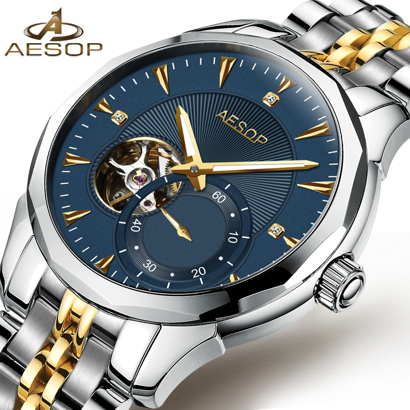 цена на Luxury AESOP watch men skeleton sapphire silver stainless steel blue dial waterproof Automatic machine watch relogio masculine