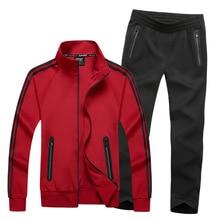 L-8XL Men Tracksuit Sports Suit Sweatshirt+pant Male Jacket Jogger Running Fitness Sportswear Training Set Sweat