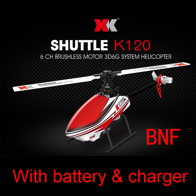 XK K120 BNF version ( without Remote Conbtrol )(With battery&charger/propellers) with Brushless Motor 3D6G System RC Helicopter xk k123 bnf 1 without remote control with battery