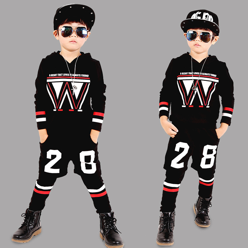 Magituby Fashion Boys Clothes Cotton Children Baby Clothing Sets Shirt and Pants Fire Print Kids Summer Hip Hop Sports  C016