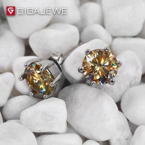 Image 1 - GIGAJEWE Moissanite Altın Yuvarlak Kesim Toplam 1.6ct Lab Grown Diamond 6 Prong Gümüş Küpe moda takı Kız Arkadaşı Hediye