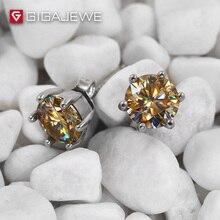 GIGAJEWE boucles doreilles en or, Moissanite, rondes, coupées au Total, 1,6 ct, diamants cultivés en laboratoire, 6 broches, bijoux à la mode, cadeau pour petite amie