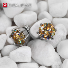 Gigajewe moissanite 골든 라운드 컷 총 1.6ct 실험실 성장 다이아몬드 6 갈래 실버 귀걸이 패션 쥬얼리 여자 친구 선물