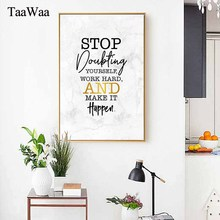 TaaWaa Motivational Quotes Poster Print Minimalism Wall Art Pictures Canvas Painting Black White Marble Picture For Company Room