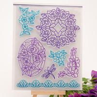 Flower Bud Lace Seal Stamp DIY Scrapbook Transparent Rubber Stamp Butterfly Dragonfly Wreath Stamp Seal YZ